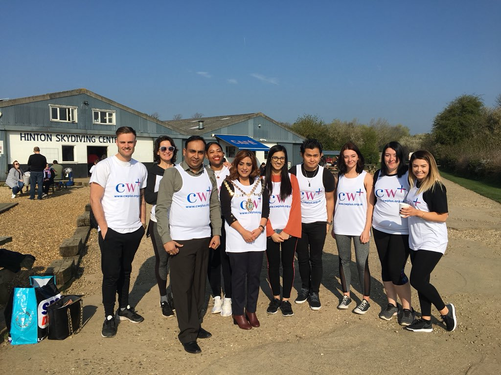 photo of cw+ charity skydive team