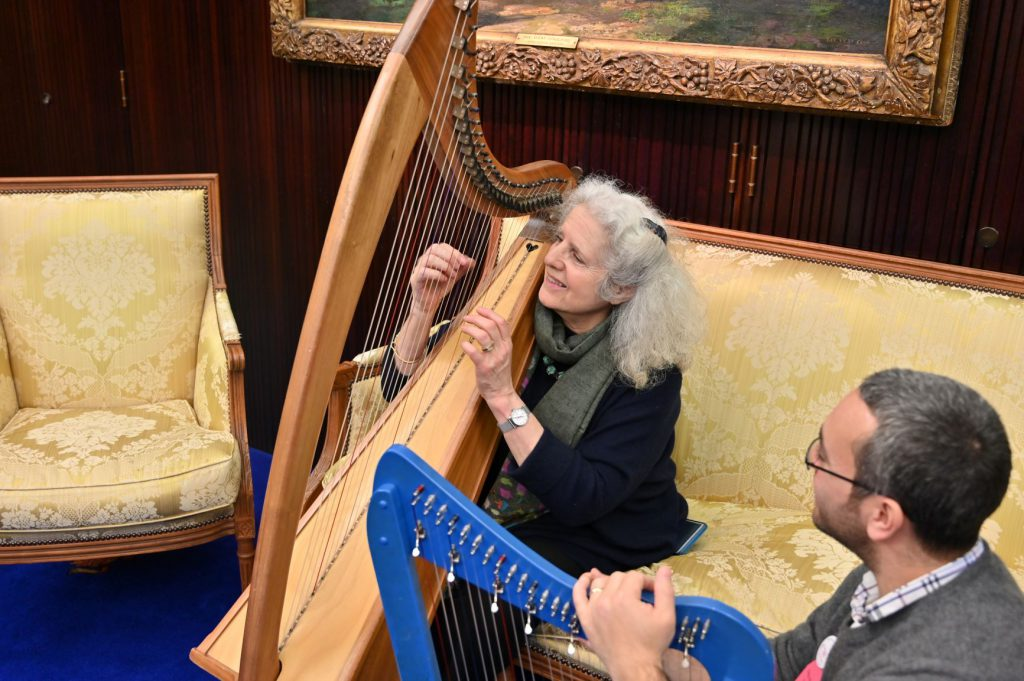 woman plays the harp